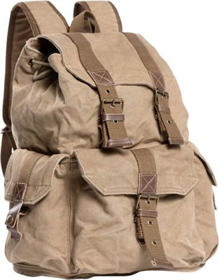 Vagabond Traveler Washed Canvas Backpack Khaki - Vagabond Traveler Everyday Backpacks