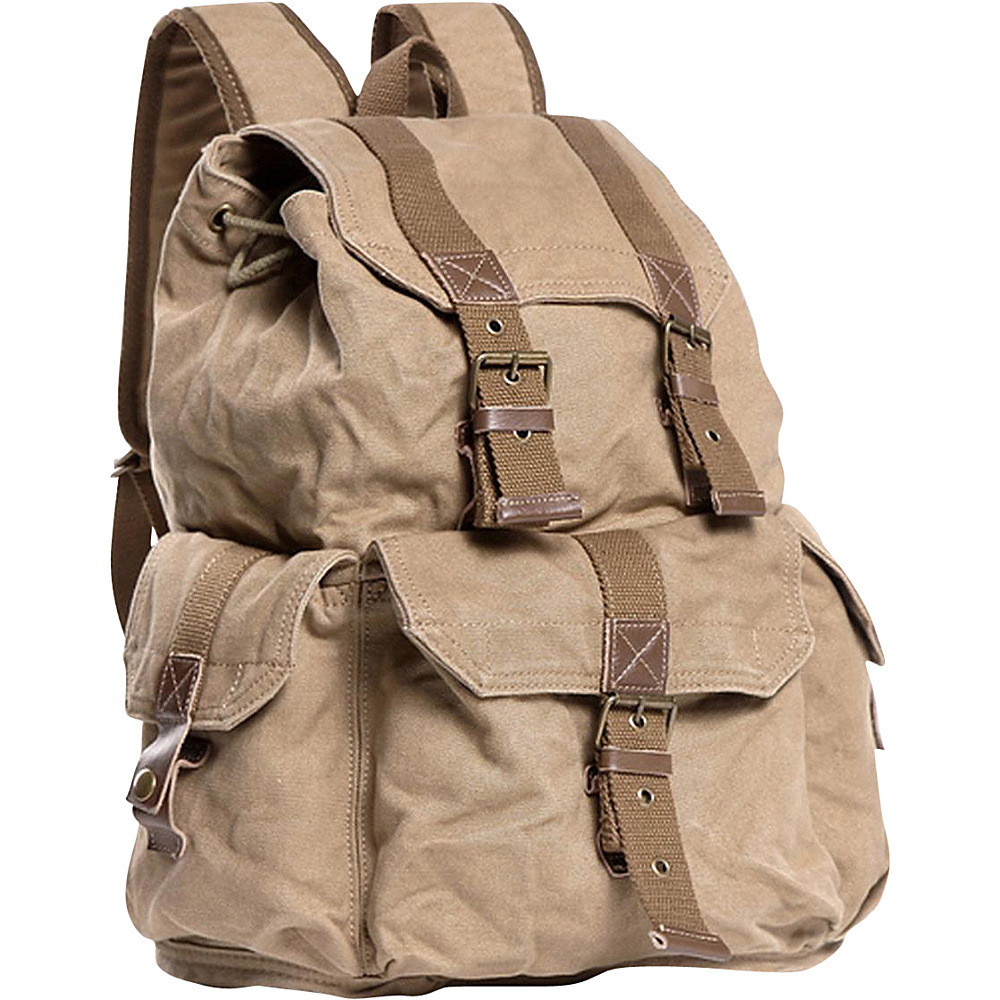 Vagabond Traveler Washed Canvas Backpack Khaki - Vagabond Traveler Everyday Backpacks - Backpacks, Everyday Backpacks
