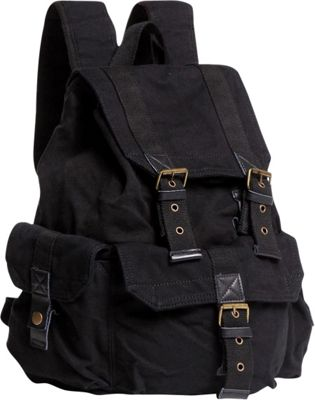 Vagabond Traveler Washed Canvas Backpack Black - Vagabond Traveler Everyday Backpacks