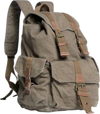 Vagabond Traveler Washed Canvas Backpack Military Green - Vagabond Traveler Everyday Backpacks