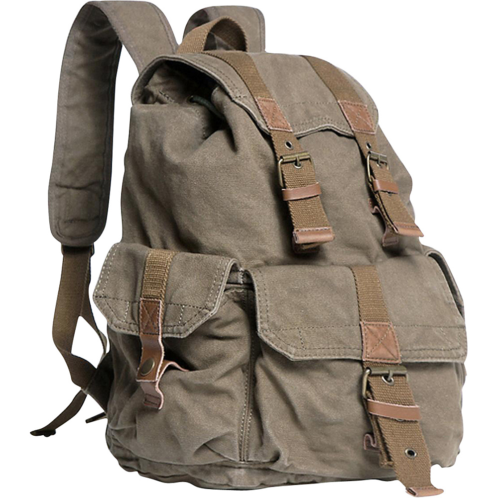 Vagabond Traveler Washed Canvas Backpack Military Green Vagabond Traveler Everyday Backpacks