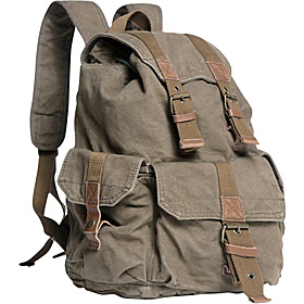 Washed Canvas Backpack Military Green
