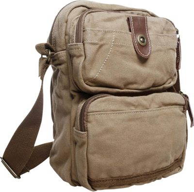 Vagabond Traveler Washed Canvas Cross Body Bag Khaki - Vagabond Traveler Other Men's Bags
