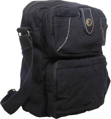 Vagabond Traveler Washed Canvas Cross Body Bag Black - Vagabond Traveler Other Men's Bags