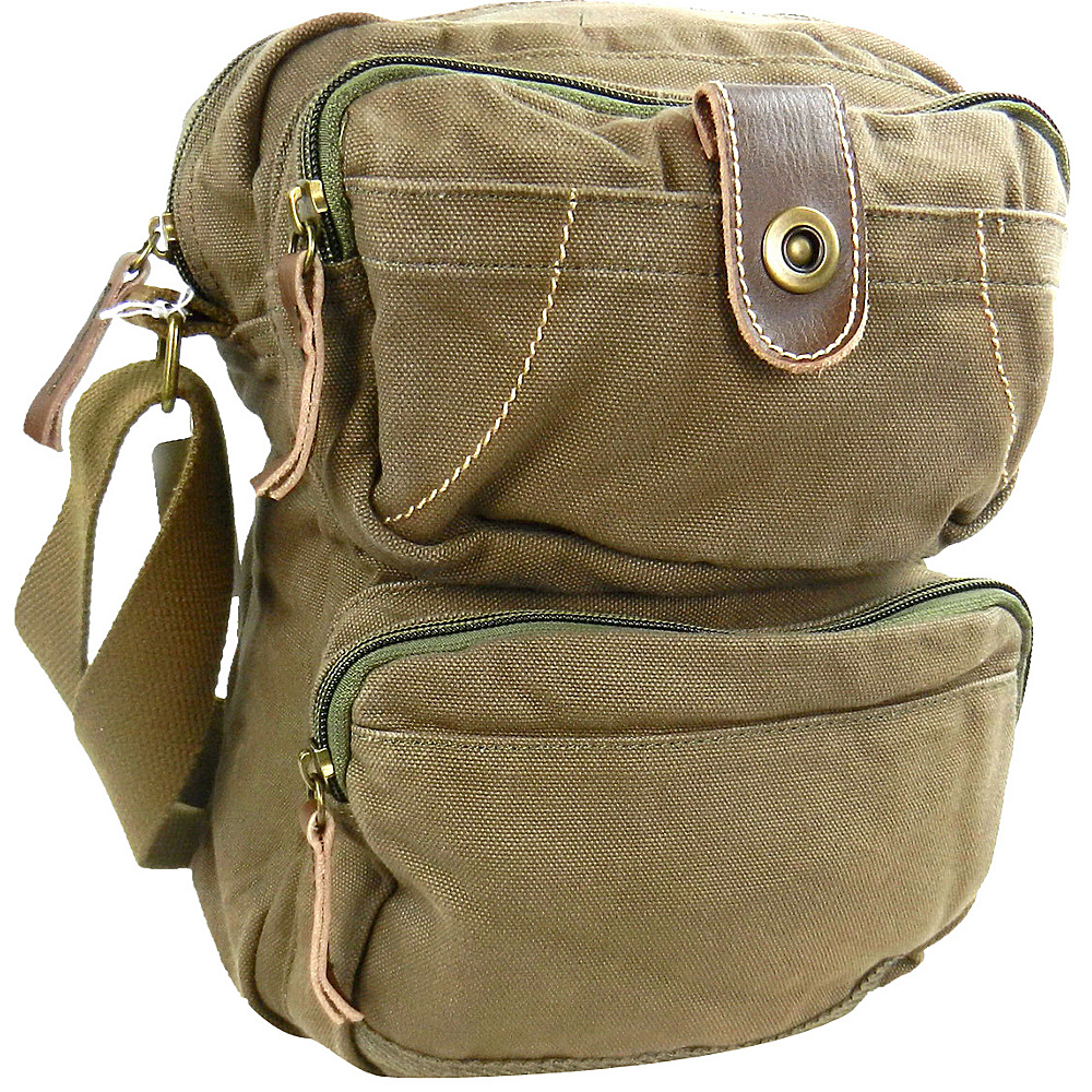 Vagabond Traveler Washed Canvas Cross Body Bag Military Green - Vagabond Traveler Other Mens Bags - Work Bags & Briefcases, Other Men's Bags