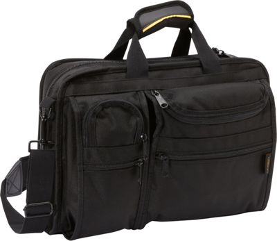 A. Saks Ballistic Nylon Organizer Briefcase Black - A. Saks Non-Wheeled Business Cases