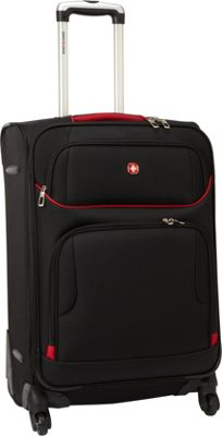 SwissGear Travel Gear 24 inch Exp. Spinner Upright Black with Red - SwissGear Travel Gear Softside Checked