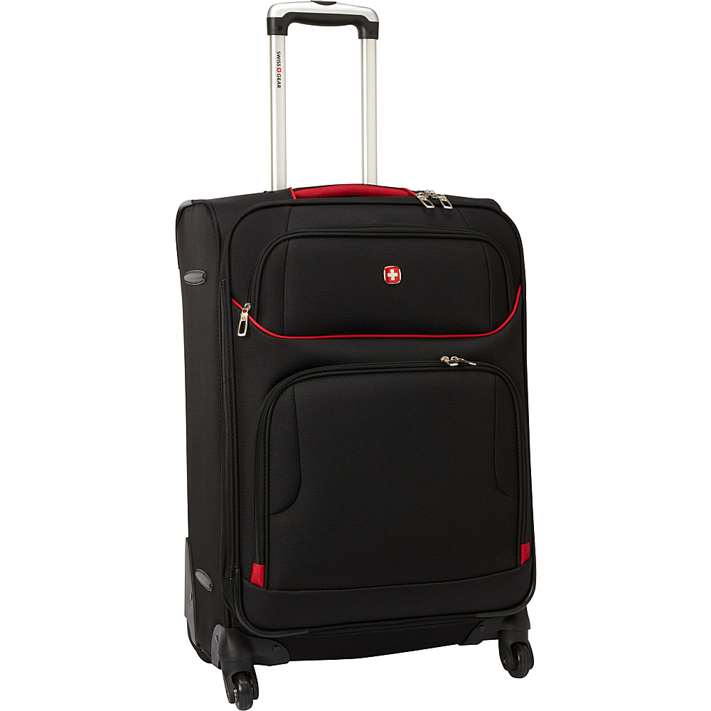 "SwissGear Travel Gear 7317 24"" Exp. Spinner Upright Black with Red - SwissGear Travel Gear Softside Checked"