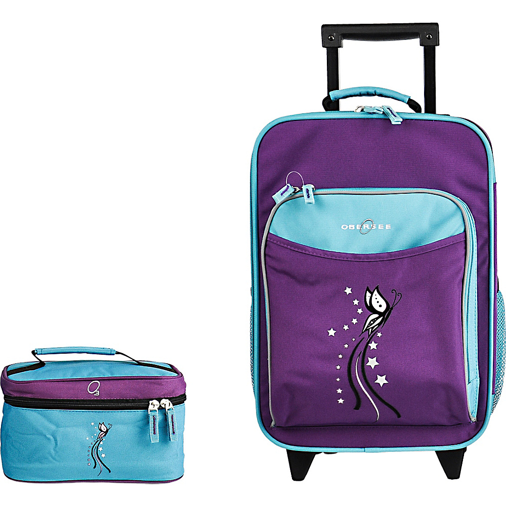 Obersee Kids Luggage and Toiletry Bag Set - Turquoise Butterfly Turquoise Butterfly - Obersee Luggage Sets