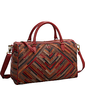 Patchwork Convertible Leather Satchel MULTI