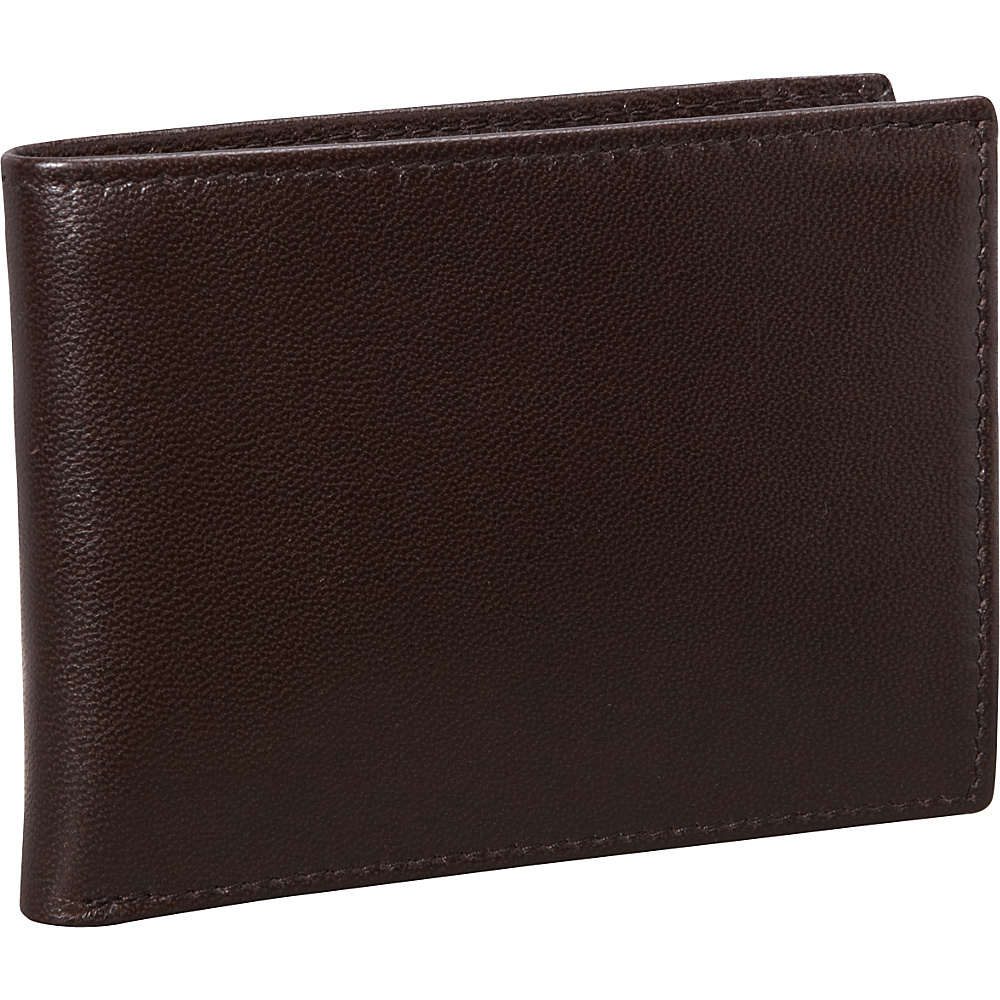 Budd Leather Nappa Soft Leather Slim Wallet w 8 Credit Card Slits Brown Budd Leather Men s Wallets