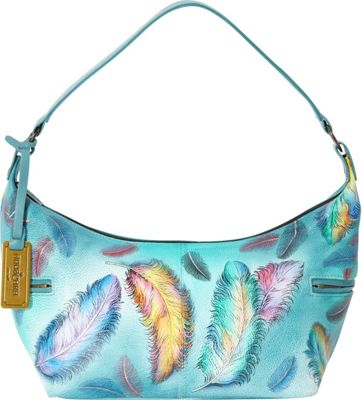 Anuschka East West Medium Hobo Floating Feathers (FFT) - Anuschka Leather Handbags