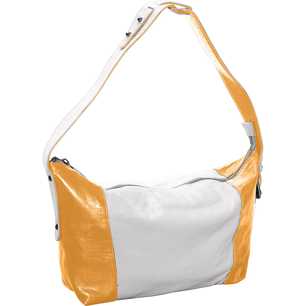 Latico Leathers Mingus Shoulder Bag Metallic White/Gold - Latico Leathers Leather Handbags - Handbags, Leather Handbags