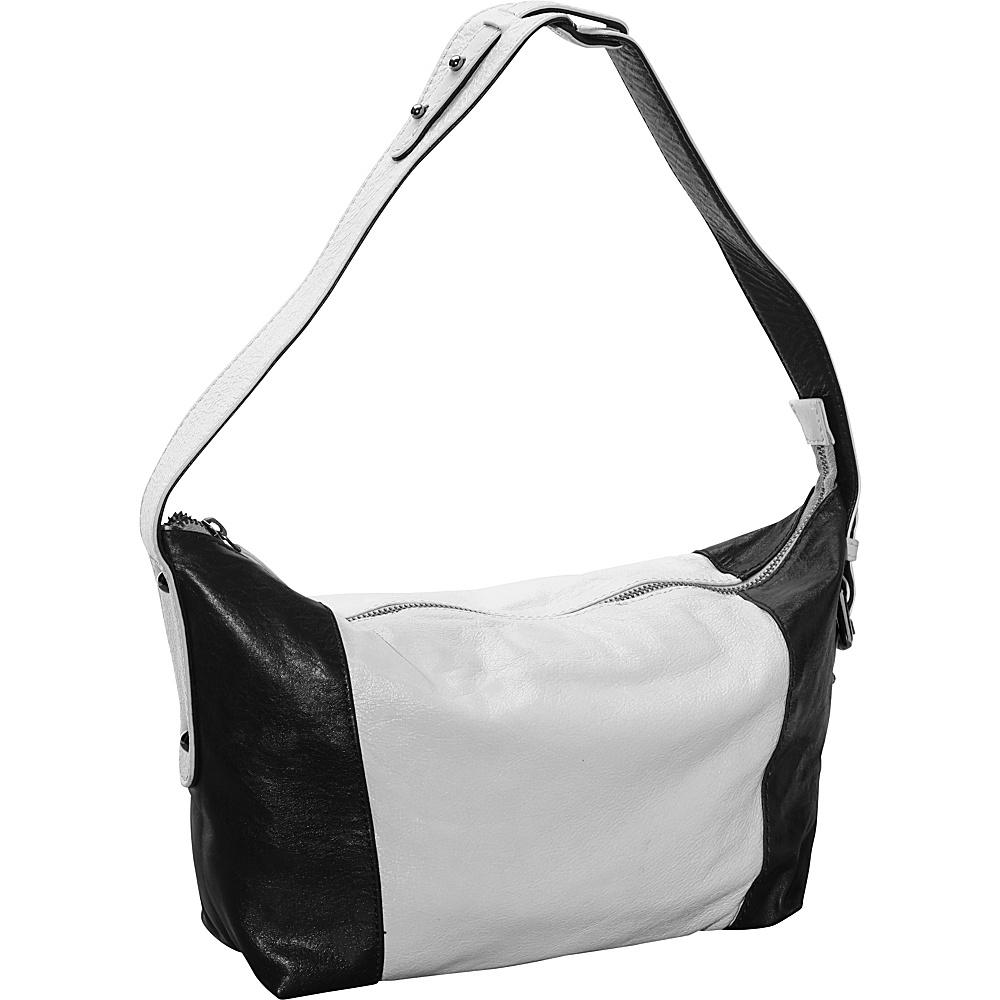 Latico Leathers Mingus Shoulder Bag Metallic White Black - Latico Leathers Leather Handbags - Handbags, Leather Handbags