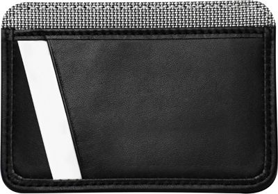 Stewart Stand Leather Tech Credit Card Stainless Steel Wallet - RFID Black / Silver - Stewart Stand Men's Wallets
