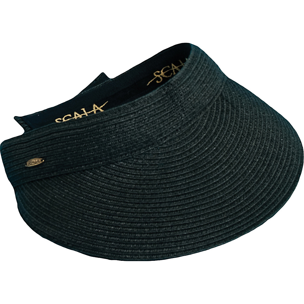 Scala Hats Paper Braid Visor w Velcro Black Scala Hats Hats Gloves Scarves
