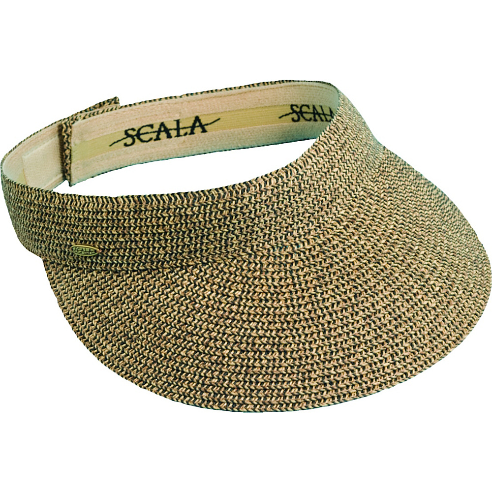 Scala Hats Paper Braid Visor w Velcro Coffee Black Scala Hats Hats Gloves Scarves