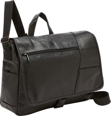Bellino Leather Laptop Messenger Black - Bellino Messenger Bags