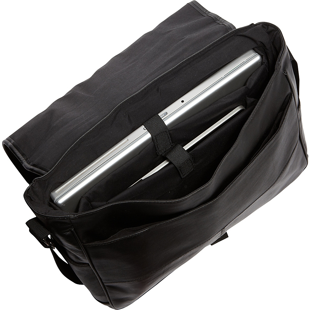 Bellino Leather Laptop Messenger Black - Bellino Messenger Bags