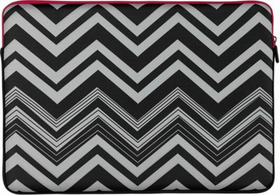 M-Edge Sleeve for 16 Laptops Black and White Zigzag with Pink Interior - M-Edge Laptop Sleeves