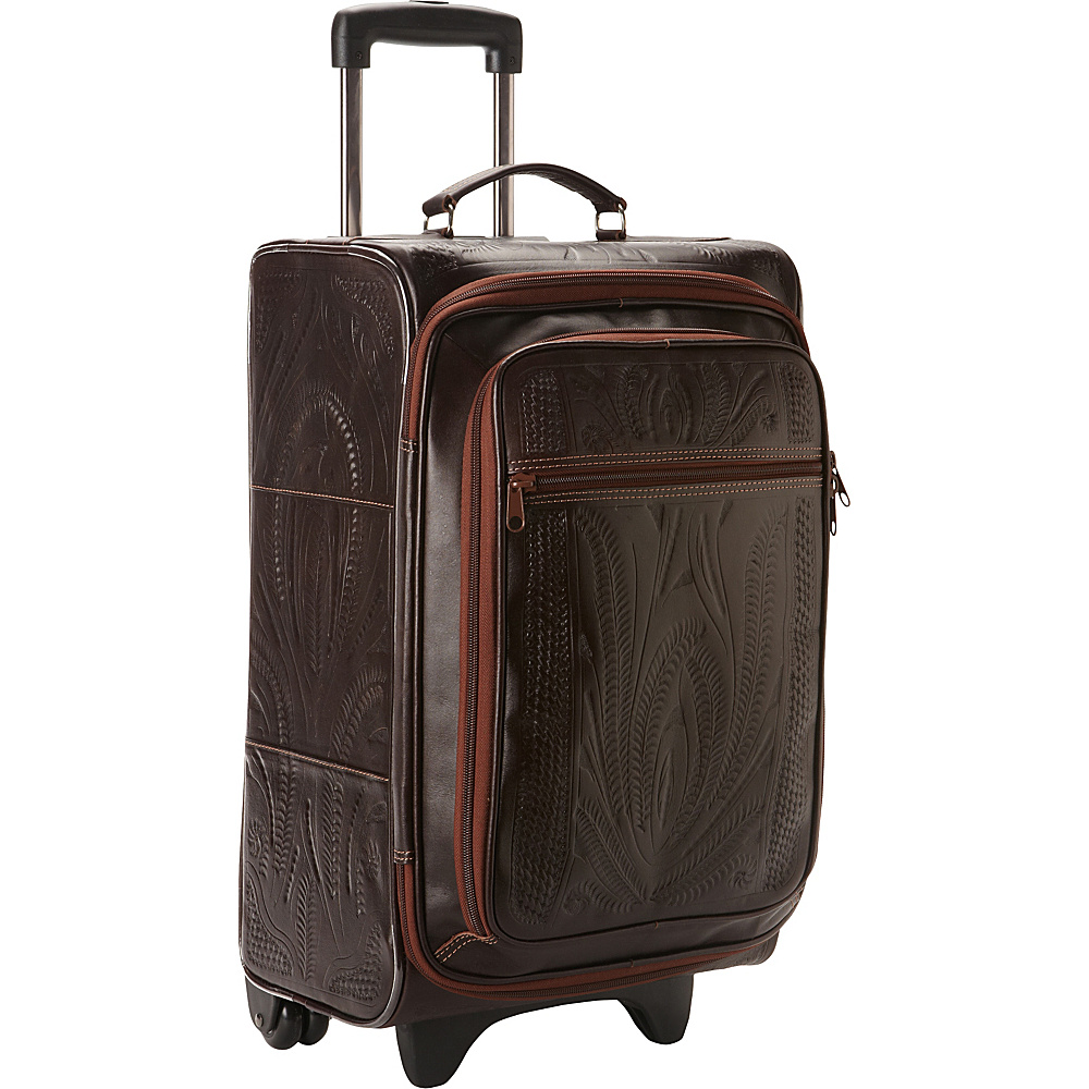 Ropin West 20 Upright Roller Bag Brown Ropin West Softside Carry On