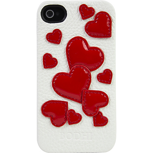 BODHI White Leather iPhone 4/4S Case with Patent Leather Red Hearts white/red hearts - BODHI Personal Electronic Cases