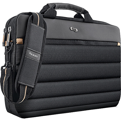 SOLO Pro Slim Laptop Brief with Shoulder Strap Black - SOLO Non-Wheeled Computer Cases