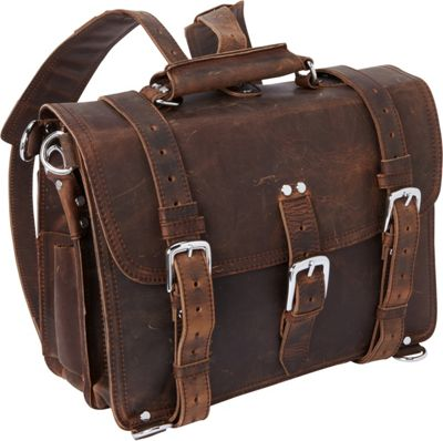 Vagabond Traveler 16 inch Large Full Leather Briefcase & Backpack Dark Brown - Vagabond Traveler Non-Wheeled Business Cases