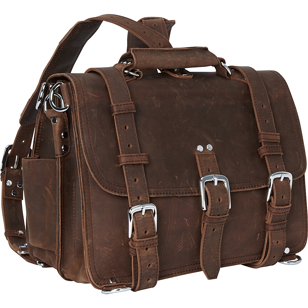 Vagabond Traveler 16 Large Full Leather Briefcase & Backpack Vintage Brown - Vagabond Traveler Non-Wheeled Business Cases - Work Bags & Briefcases, Non-Wheeled Business Cases