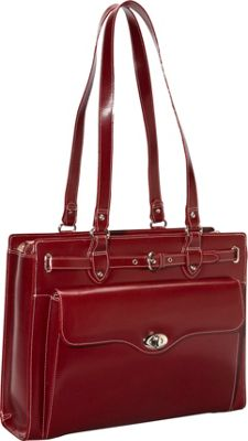 McKlein USA Joliet 15 inch Leather Laptop Tote EXCLUSIVE Red - McKlein USA Women's Business Bags