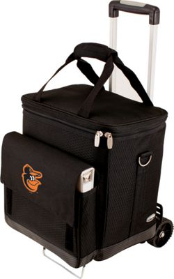 Picnic Time Cellar w/ Trolley - MLB Teams Baltimore Orioles - Black - Picnic Time Travel Coolers
