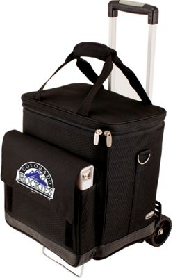 Picnic Time Cellar w/ Trolley - MLB Teams Colorado Rockies - Black - Picnic Time Travel Coolers