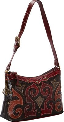 American West Casablanca Collection Zip-Top Shoulder Bag Chocolate Brown accented with distressed red, tan, - American West Leather Handbags