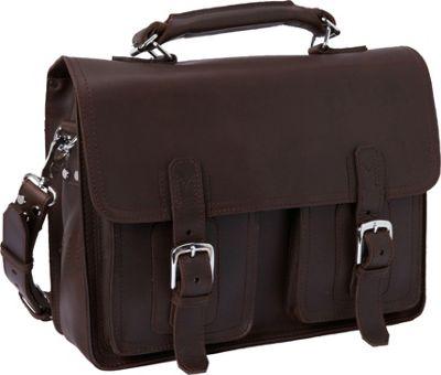 Vagabond Traveler 16 inch Pro Leather Laptop Briefcase Coffee Brown - Vagabond Traveler Non-Wheeled Business Cases