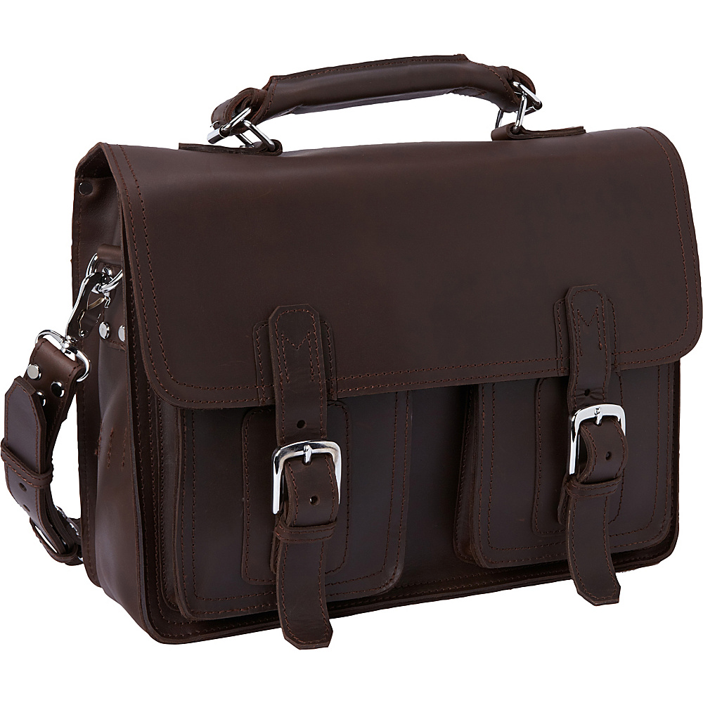 "Vagabond Traveler 16"" Pro Leather Laptop Briefcase Coffee Brown - Vagabond Traveler Non-Wheeled Business Cases"