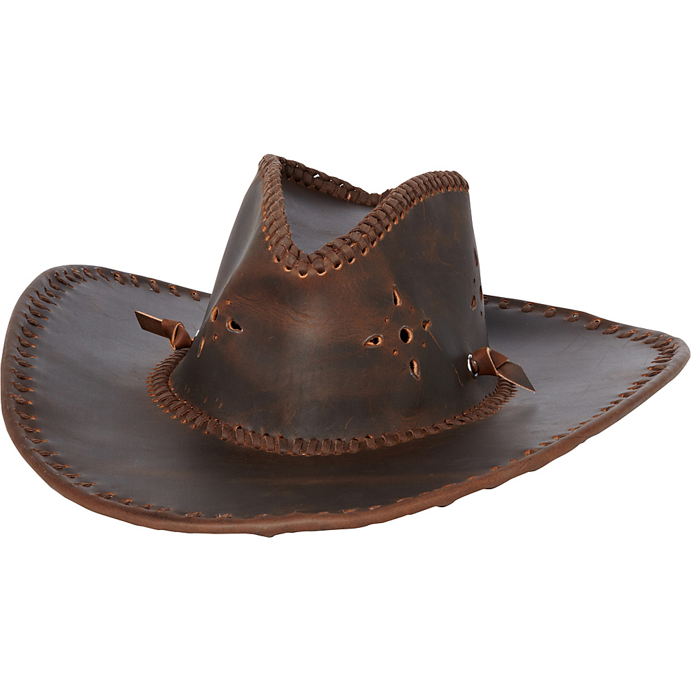 Vagabond Traveler Leather Cowboy Hat Vintage Brown - Vagabond Traveler Hats/Gloves/Scarves - Fashion Accessories, Hats/Gloves/Scarves