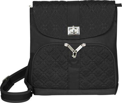Travelon Anti-Theft Signature Messenger Bag Black - Travelon Leather Handbags