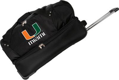 Denco Sports Luggage NCAA University of Miami Hurricanes 27 inch Drop Bottom Wheeled Duffel Bag Black - Denco Sports Luggage Travel Duffels
