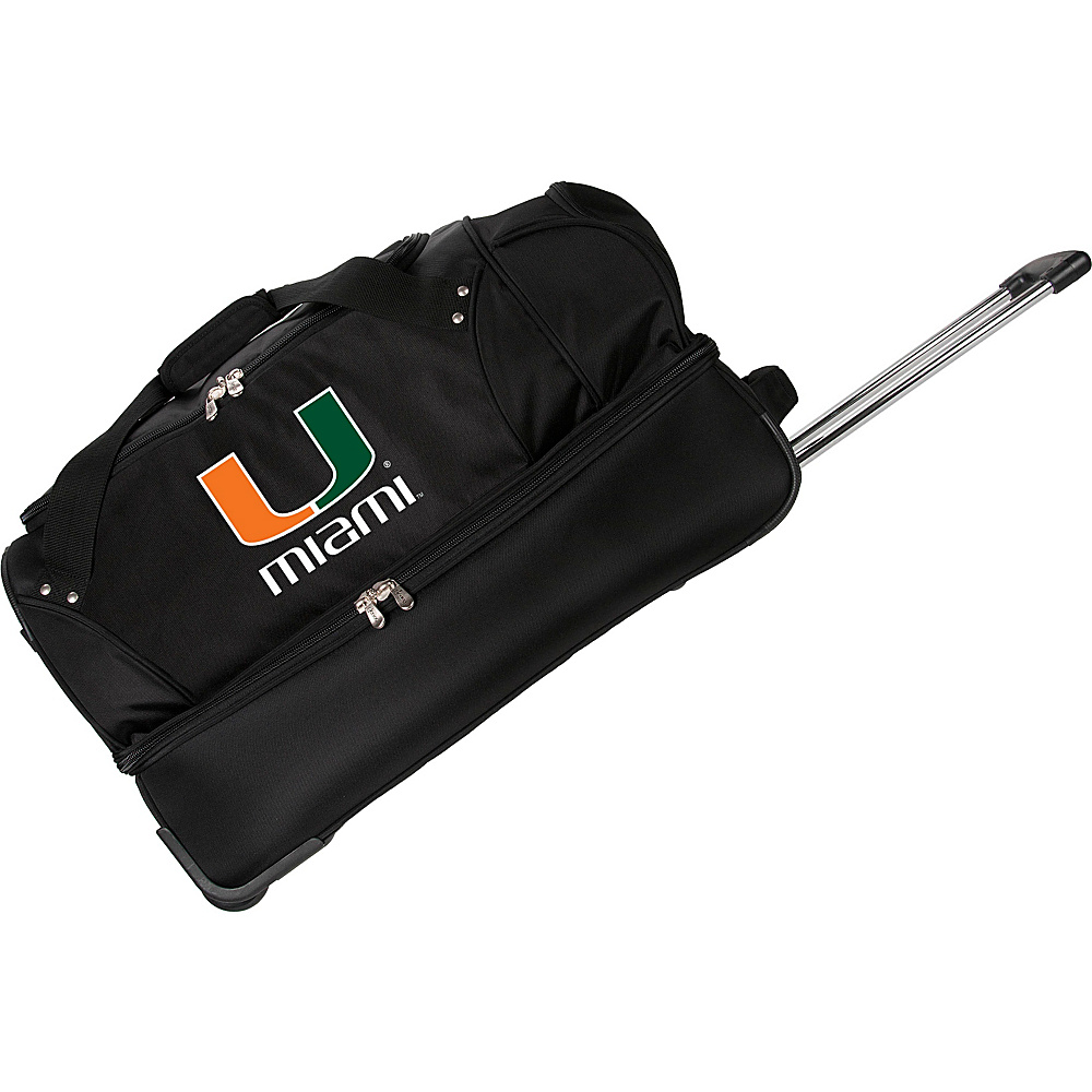 Denco Sports Luggage NCAA University of Miami Hurricanes 27 Drop Bottom Wheeled Duffel Bag Black - Denco Sports Luggage Travel Duffels - Luggage, Travel Duffels