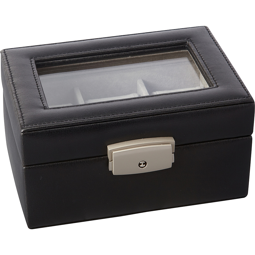 Royce Leather Luxury 3 Slot Watch Box Black Royce Leather Business Accessories