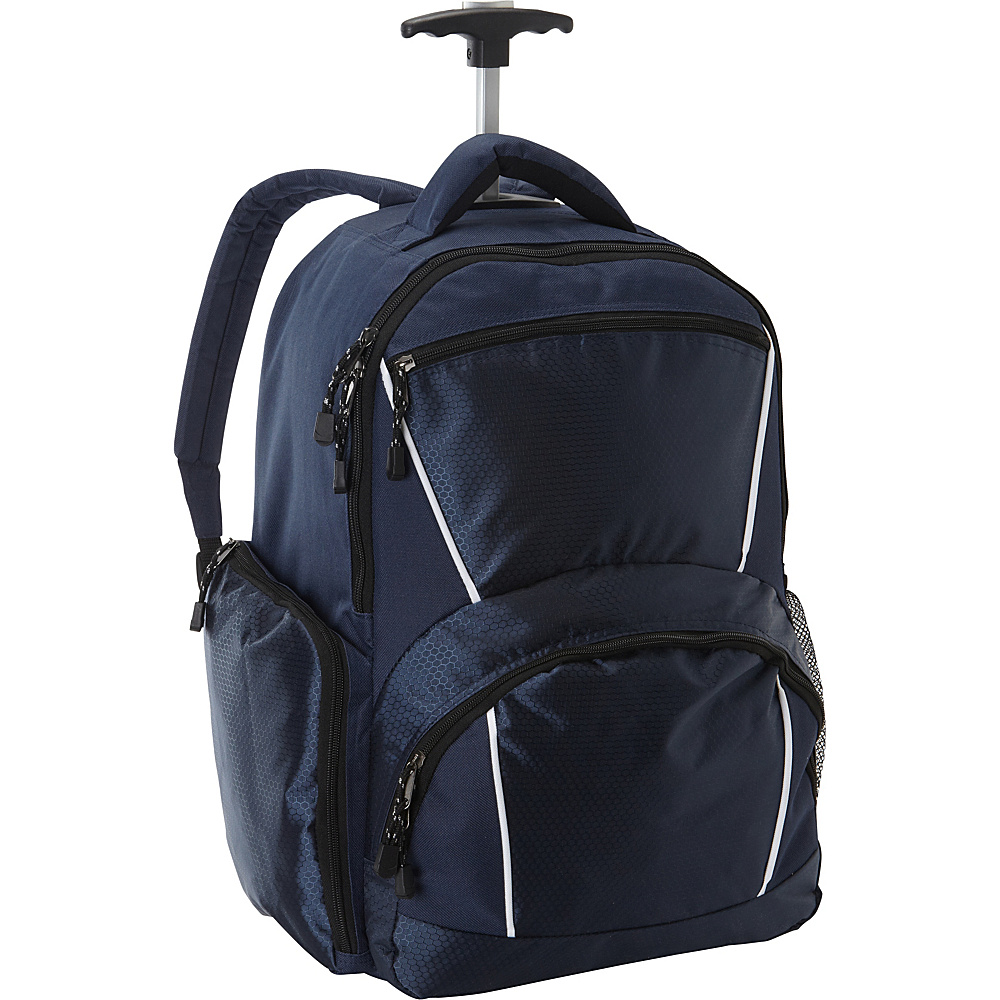 Bellino Rolling Computer Backpack Navy - Bellino Laptop Backpacks