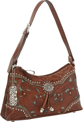 American West Lady Lace Zip-top Shoulder Bag Antique Brown w/ turq accents - American West Leather Handbags
