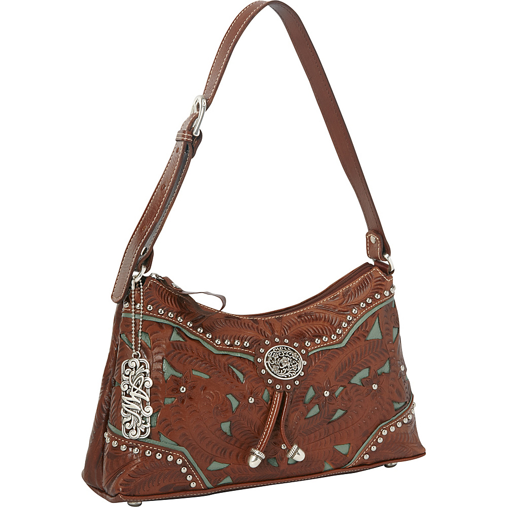 American West Lady Lace Zip top Shoulder Bag Antique Brown w turq accents American West Leather Handbags