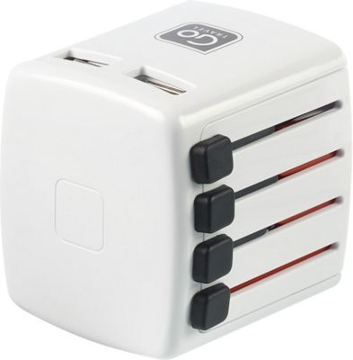 Go Travel Worldwide Adaptor Double USB White - Go Travel Electronic Accessories