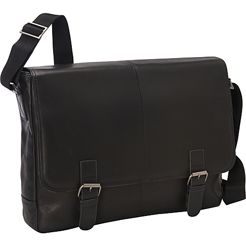 eBags Laptop Collection Colombian Leather Laptop Buckle Brief Black - eBags Laptop Collection Non-Wheeled Computer Cases