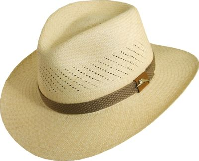 Tommy Bahama Headwear Panama Vent Outback W/Web Trim XXL - Natural - Tommy Bahama Headwear Hats/Gloves/Scarves