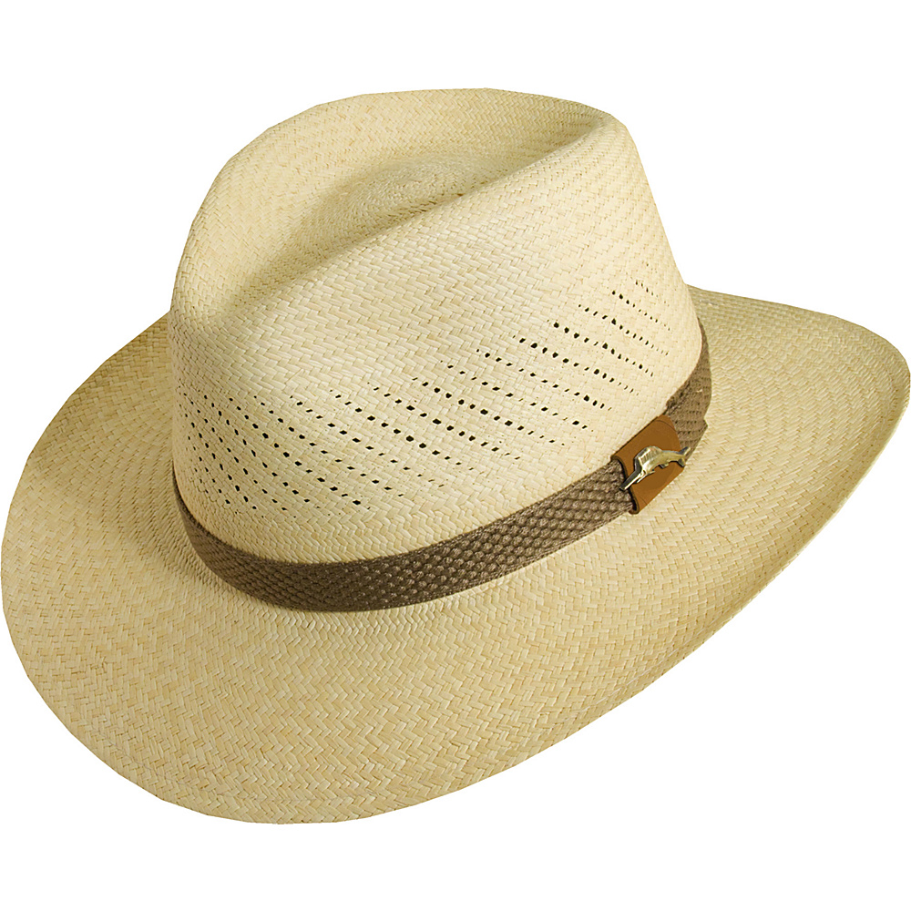 Tommy Bahama Headwear Panama Vent Outback W/Web Trim NATURAL-XXL - Tommy Bahama Headwear Hats
