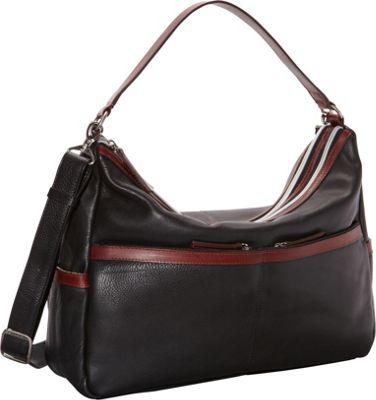 Derek Alexander East West Twin Top Zip Black/Brandy - Derek Alexander Leather Handbags