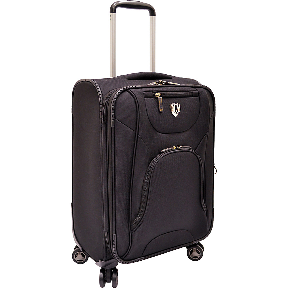 "Traveler's Choice Cornwall 22"" Spinner Luggage Black - Traveler's Choice Softside Carry-On"