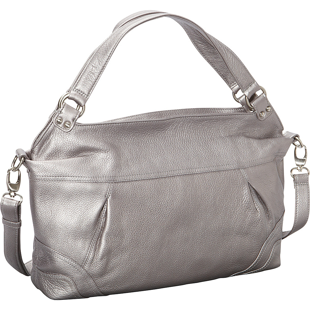 Derek Alexander EW Top Zip Shoulder Bag Silver - Derek Alexander Leather Handbags - Handbags, Leather Handbags